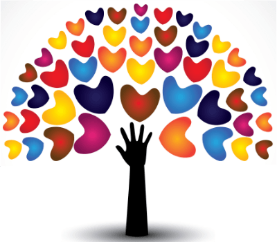 Tree composed of reaching hand and multicoloured hearts