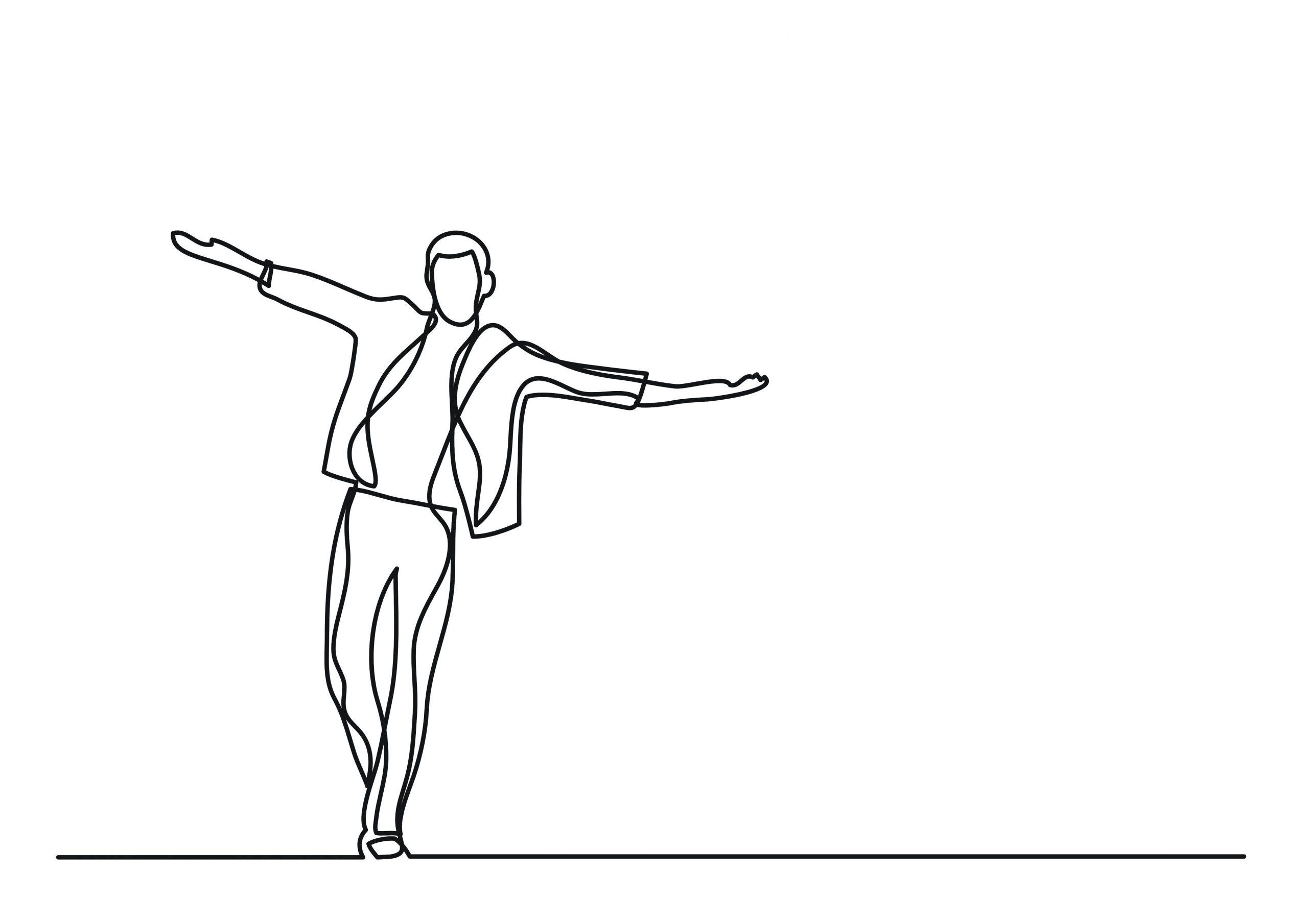 Line Drawing of Man Balancing while walking