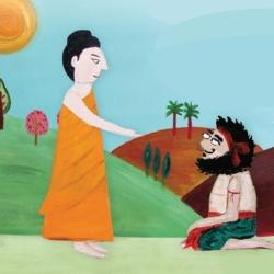 Drawing of Buddha talking to Angulimala