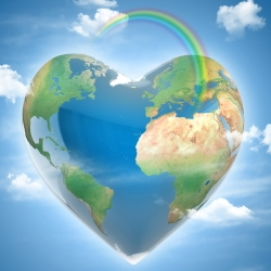 Heart Shaped Earth with Rainbow