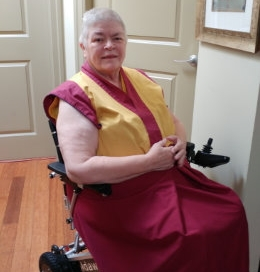 Kelsang Tsalden, Buddhist Nun in her wheelchair