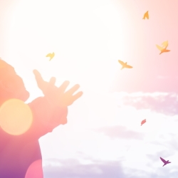 Man Arms wide with happiness, birds flying free in orange and pink sky